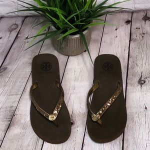 Tory Burch Brown sparkly flip flops size 6